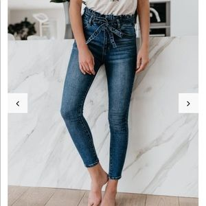 Paper Bag Waist Denim Skinny NWT